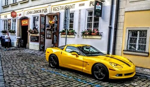 John Lennon Pub & Yellow Corvette