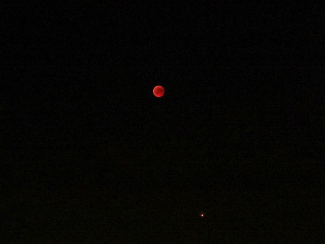 Blood moon during lunar eclipse  27July 2018 downright planet mars