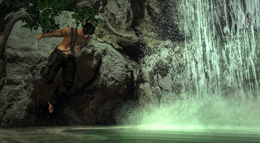 The rainforest waterfall