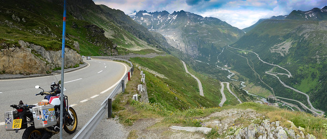 Looking down the Grimsel and up the Furka.