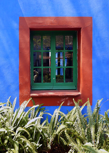 Window in the artist Frida Kahlo's 'Casa Azul', the cobalt blue house in Coyoacán, Mexico