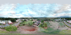 Haleiwa Town on O'ahu's North Shore as seen from 84 feet above the Liliuokalani Protestant Church - an aerial 360° Equirectangular VR