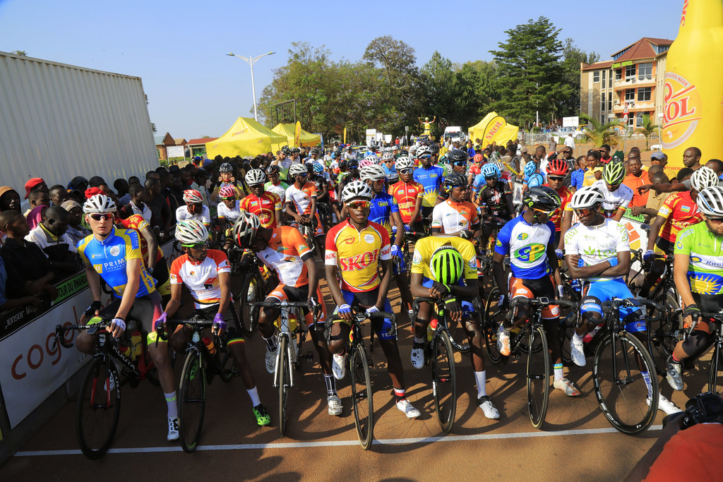 Riders at the starting line in Huye before the race