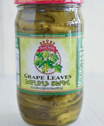 To make grape leaf rolls, use store bought grape leaves that come packed in a jar.