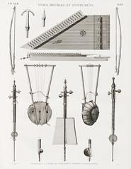 Vintage Illustration of antique musical instrument published in 1809-1828 by Edme-François Jomard (1777-1862).