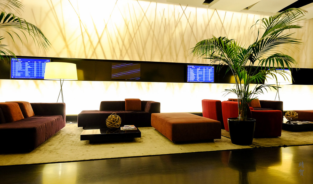 Lobby lounge with flight information