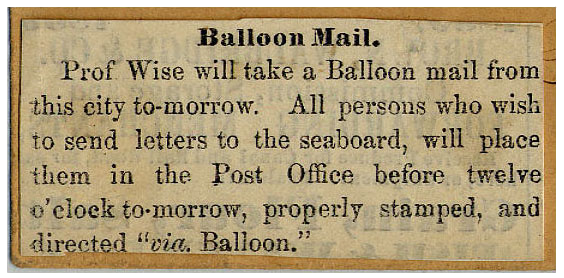 Advertisement for mail to be carried by John Wise on the balloon Jupiter, August 1859.