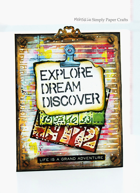 Meihsia Liu Simply Paper Crafts Note Holder Back to School Simon Says Stamp Tim Holtz Explore Dream Discover