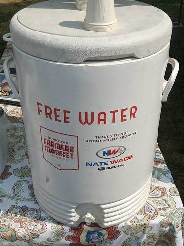 "Downtown Salt Lake City Saturday Farmers Market provides free water, which makes sense in a hot climate. They are smart in having procured ""a water sponsor"""