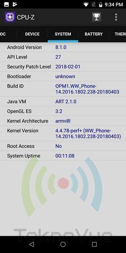 Asus Zenfone Max PRO M1 - CPUZ OS