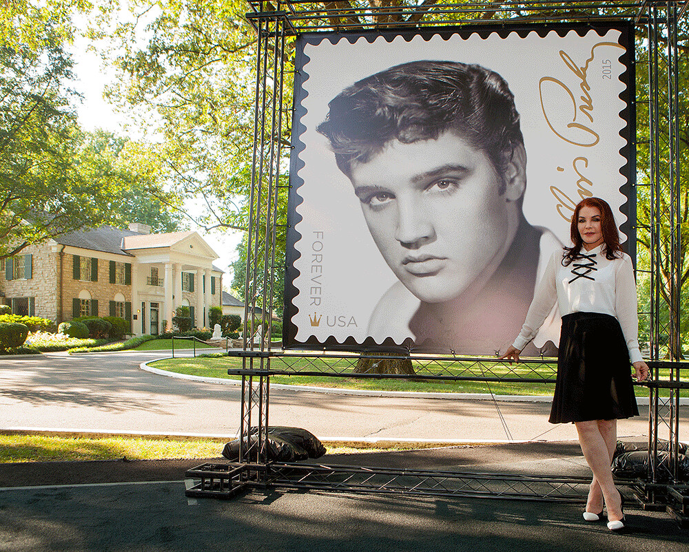 Pricilla Presley poses at the first day ceremonies for Scott #5009 at Graceland in Memphis, Tennessee, August 12, 2015.
