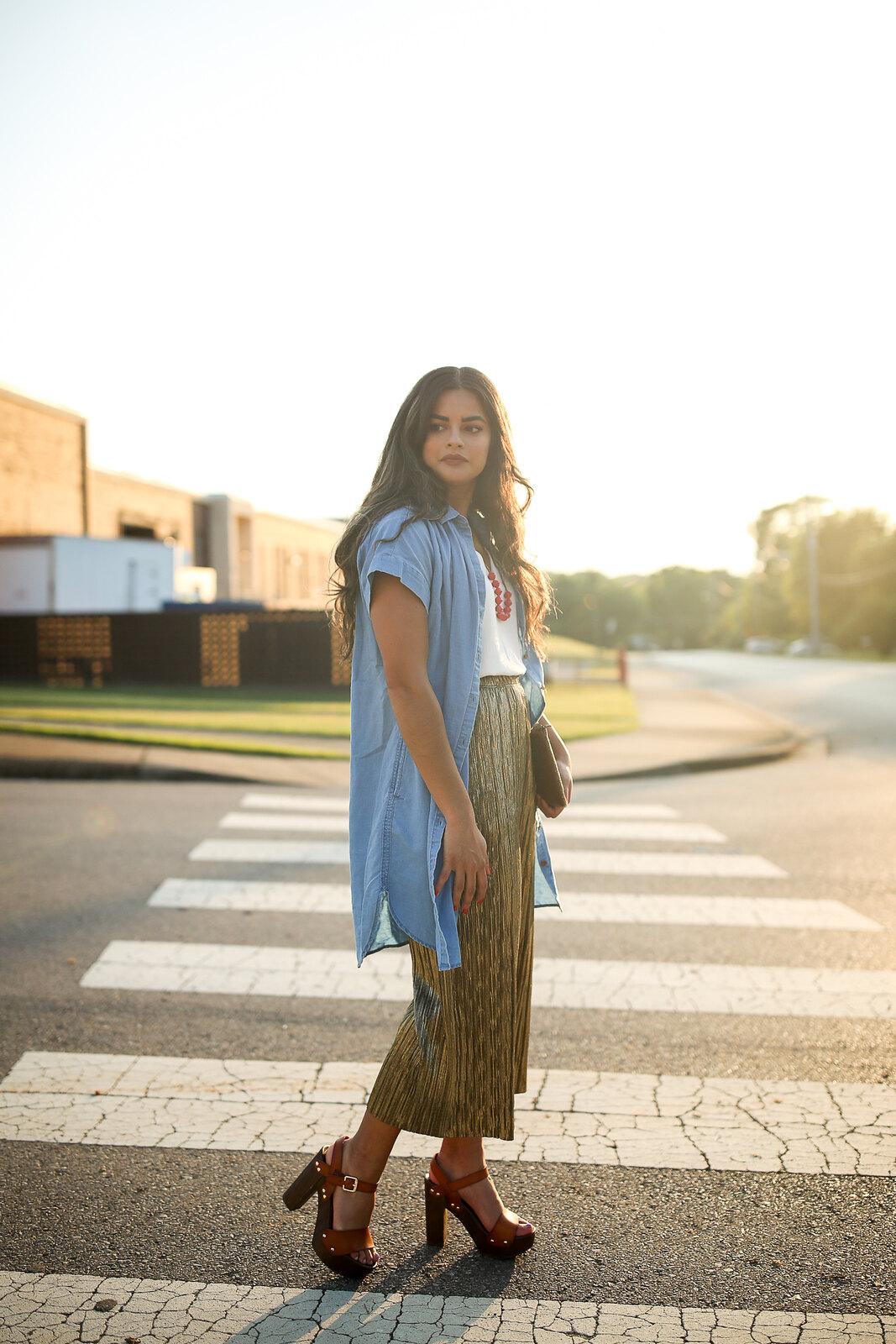 Priya the Blog, Nashville fashion blog, Nashville fashion blogger, Nashville style blog, Nashville style blogger, metallic pants, gold pants, how to wear metallic pants, Topshop pleated gold trousers for Summer, Summer outfit with metallic pants, casual outfit with metallic pants, Madewell chambray dress, Target clog sandals