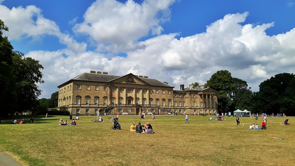 Large green area in front of a huge old manor house, Nostell Priory, England