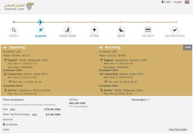 Oman Air Manila to Casablanca Roundtrip Inaugural Fare
