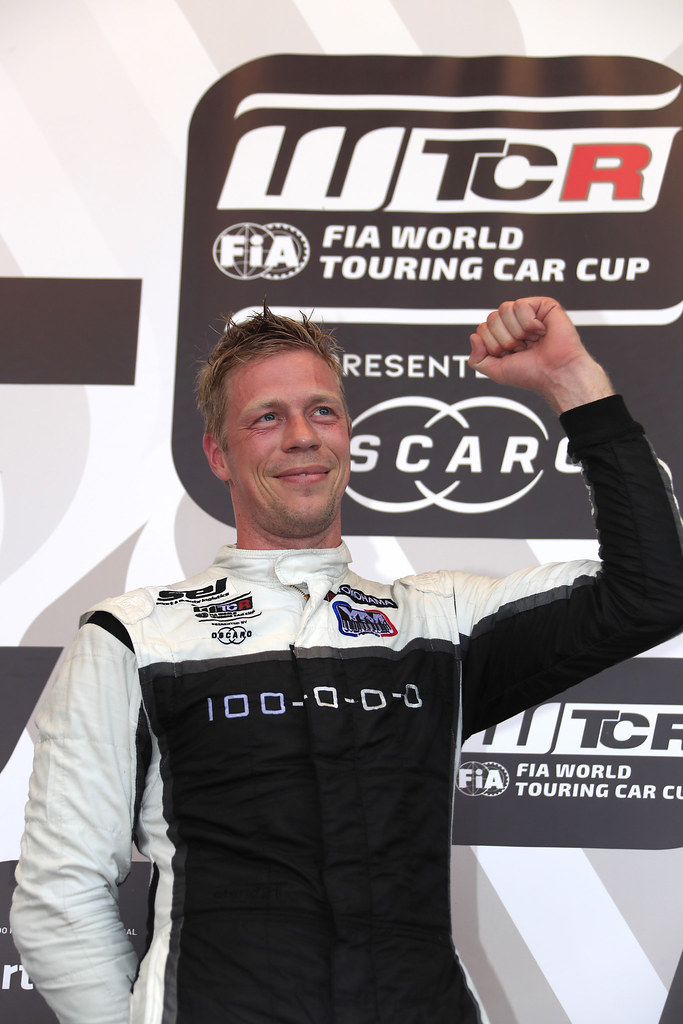 BJORK Thed, (swe), Hyundai i30 N TCR team Yvan Muller Racing, portrait, podium ambiance during the 2018 FIA WTCR World Touring Car cup of Portugal, Vila Real from june 22 to 24 - Photo Paulo Maria / DPPI