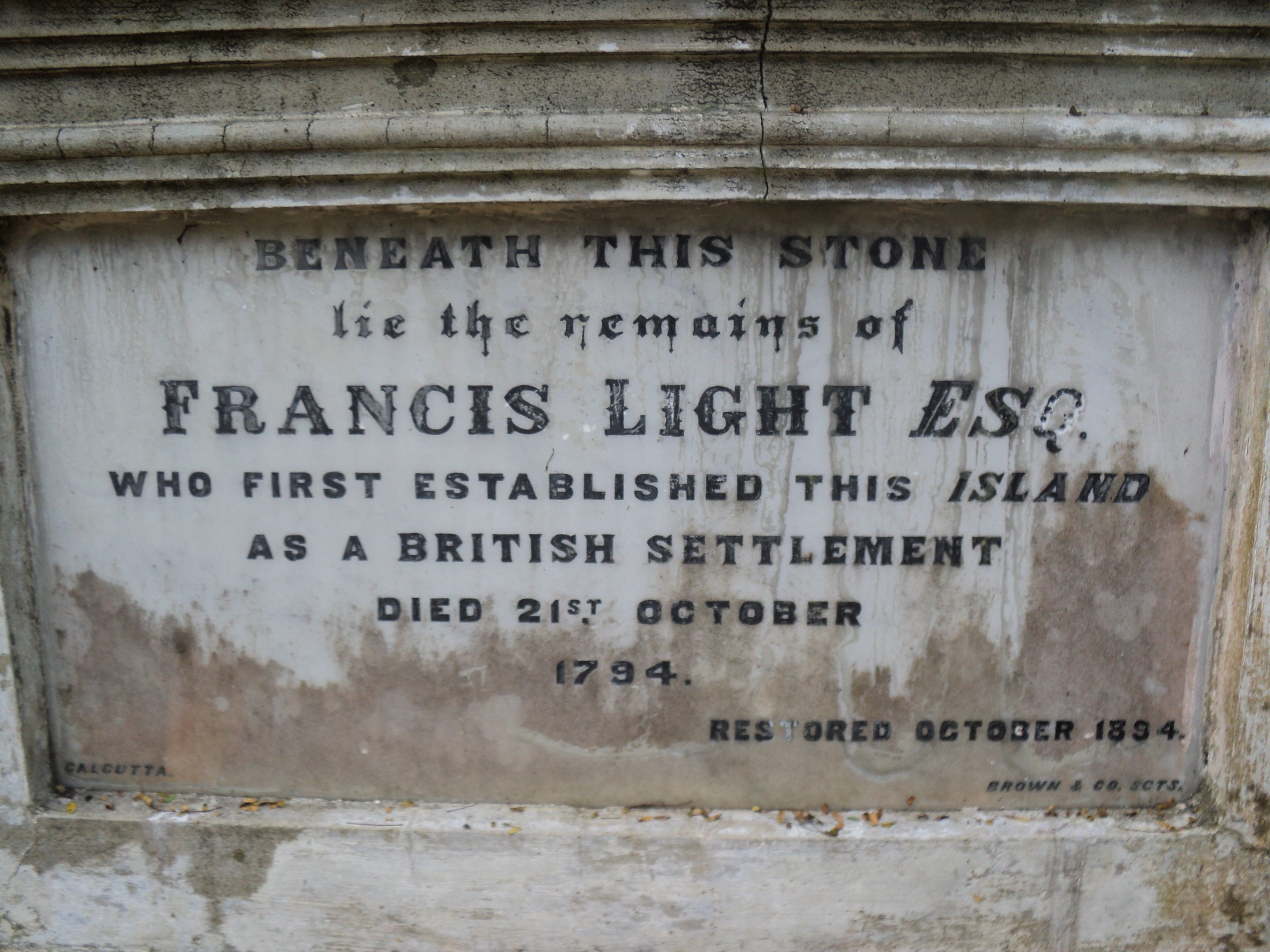 Francis Light's grave in the Protestant Cemetery at George Town, Penang, Photo taken by Mark Joseph Jochim on July 28, 2011.