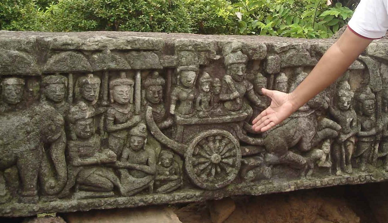 A small musical ensemble performing traditional Khmer instruments including the roneat ek, depicted on a bas-relief at Tha Prohm in the Amkor complex north of Siem Reap, Cambodia. Photo taken on May 10, 2011.