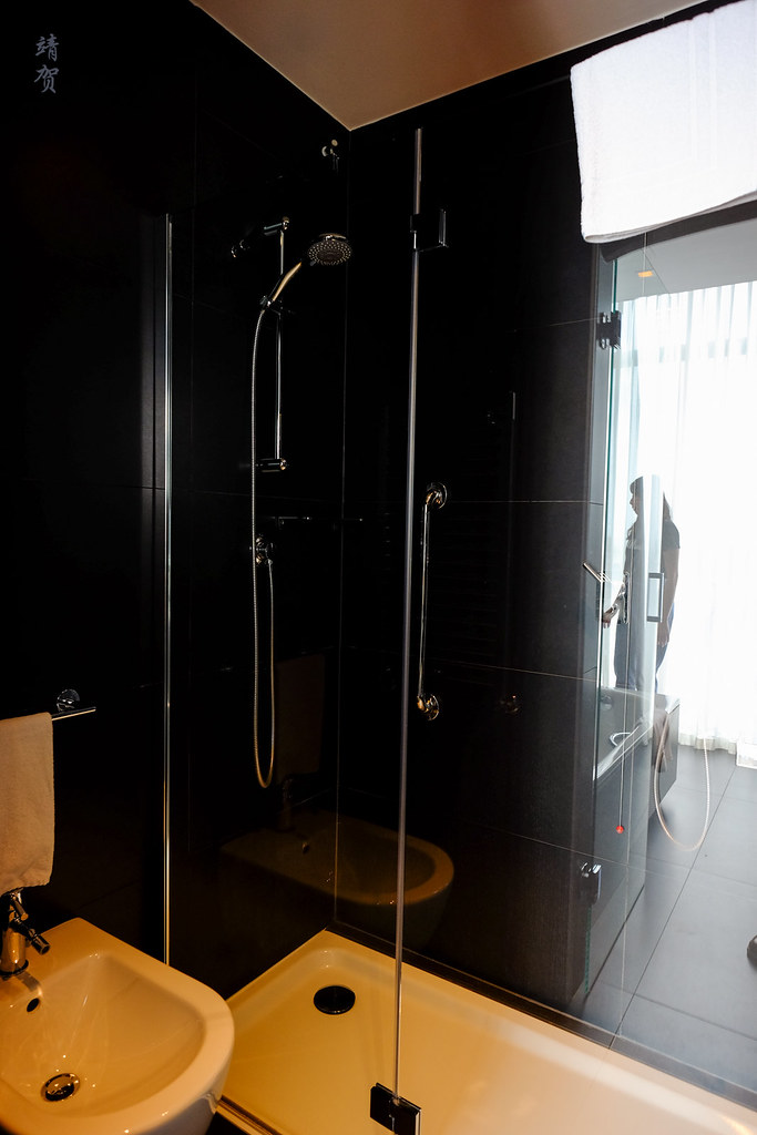 Walk-in shower and bidet