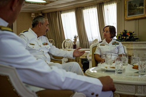 Wed, 08/15/2018 - 13:30 - 180815-N-WO404-045  CONSTANTA, Romania (Aug. 15, 2018) Vice Adm. Lisa M. Franchetti, commander, U.S. 6th Fleet and commander, Naval Striking and Support Forces NATO, speaks with Vice Adm. Alexandru Mirsu, chief of the Romanian Naval Forces, in Constanta, Romania, Aug. 15, 2018. Franchetti visited Constanta to participate in Romanian Navy Day, which coincided with the 100th anniversary of the unification of Romania following the end of World War I. U.S. 6th Fleet, headquartered in Naples, Italy, conducts the full spectrum of joint and naval operations, often in concert with allied and interagency partners, in order to advance U.S. national interests, security and stability in Europe and Africa. (U.S. Navy photo by Mass Communication Specialist 2nd Class Jonathan Nelson/Released)