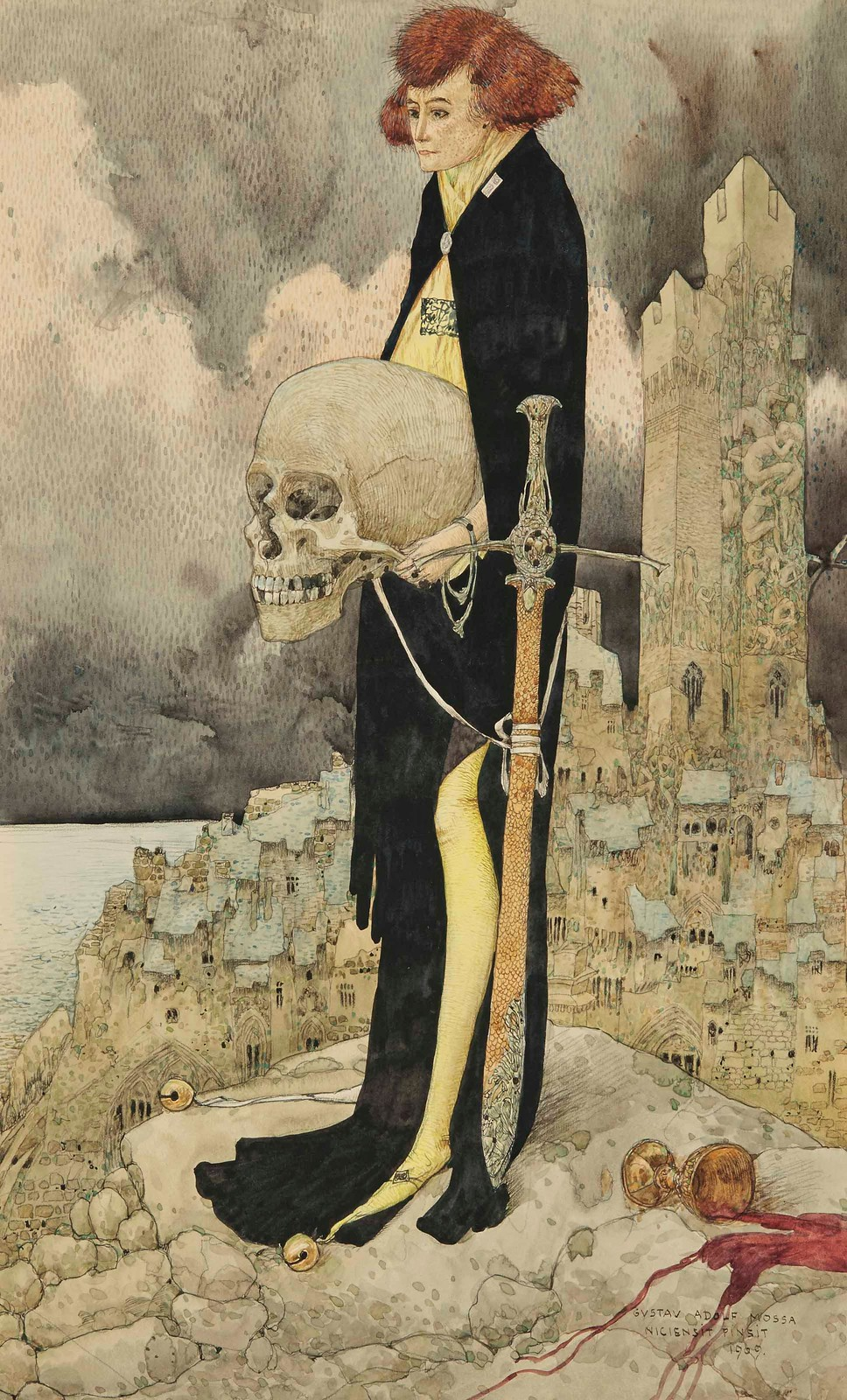 Gustav Adolf Mossa - Hamlet and the Skull, 1909