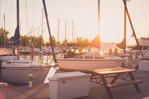 Sailboats in a marina. Photographer Gregory Bozik
