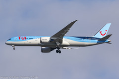G-TUIM - 2018 build Boeing B787-9 on approach to Runway 23R at Manches