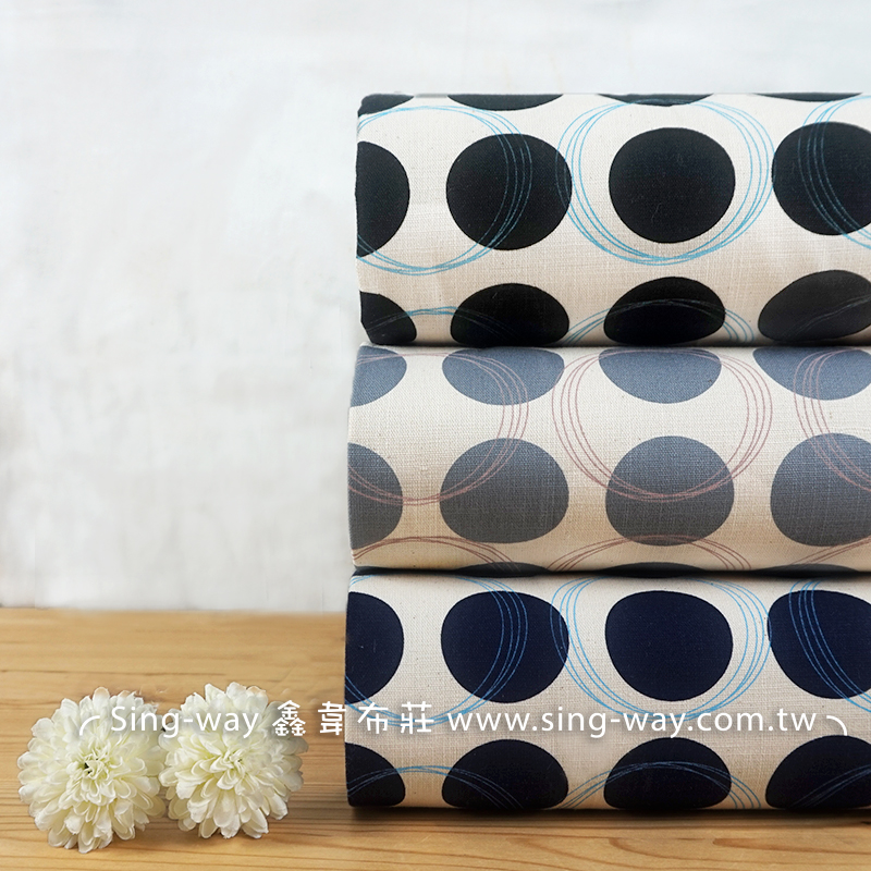 藍線圈 圓點圖案 圈圈 水玉 簡約風 服裝用布 手工藝DIy拼布布料 CF550686