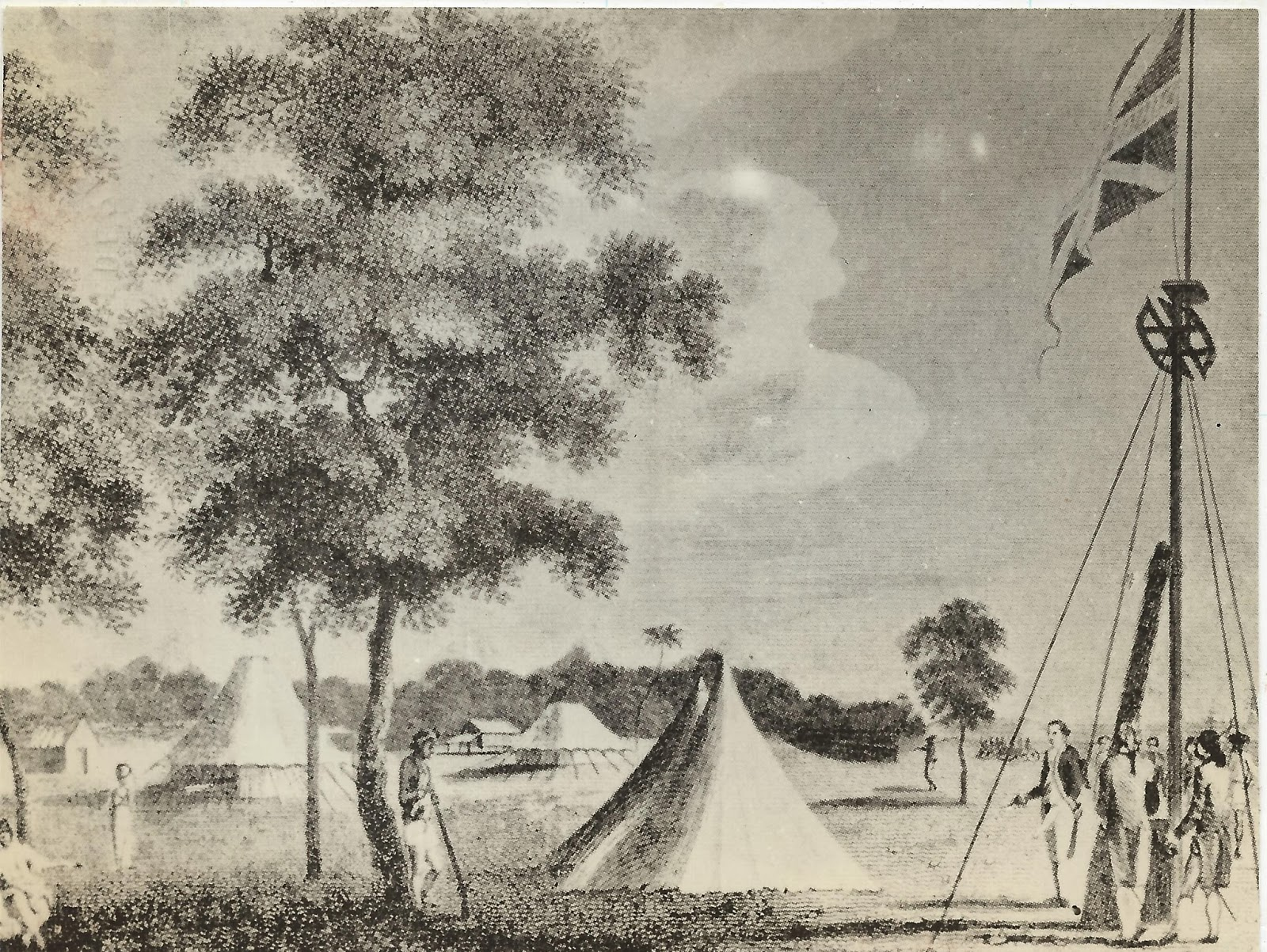 Captain Francis Light at the Flagstaff on Prince of Wales Island (Pulau Pinang), proclaiming the instructions of Governor-General of India on August 11, 1786. Image from the National Archives of Malaysia.