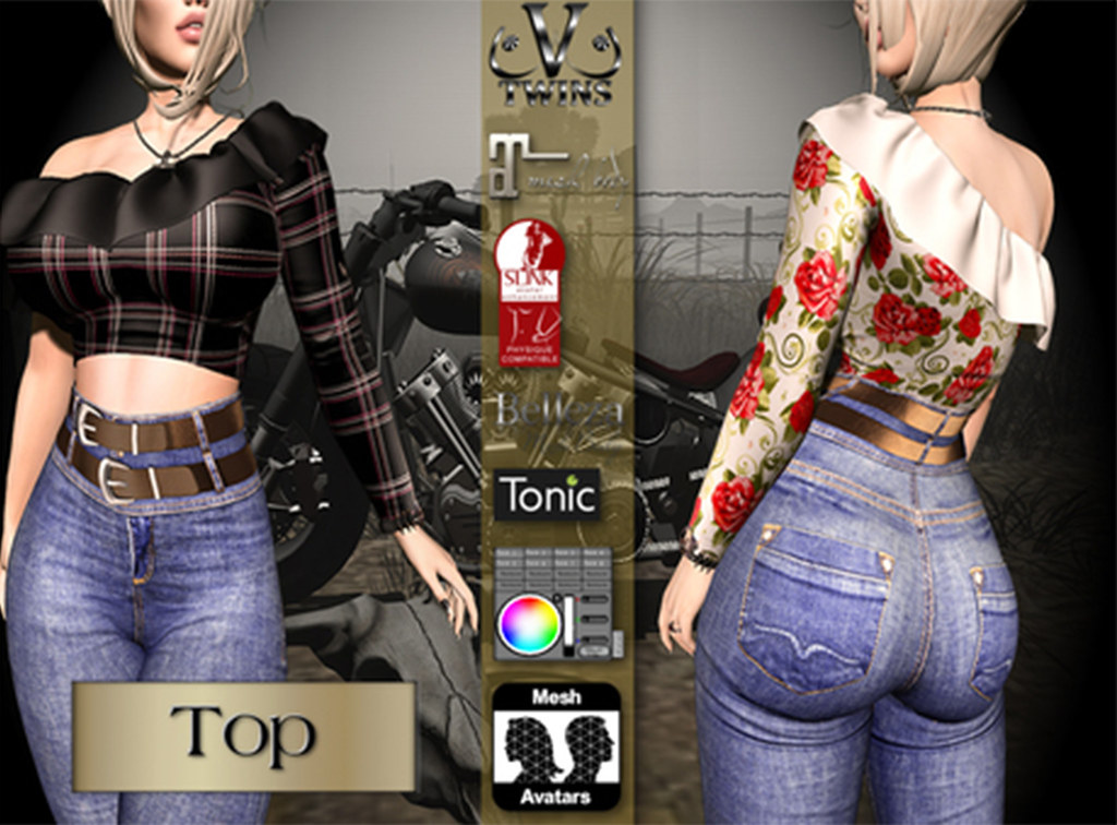 V-Twins Biker Clothes – Individual Items Mesh Top – Flare Collection (Slink Belleza & Maitreya)