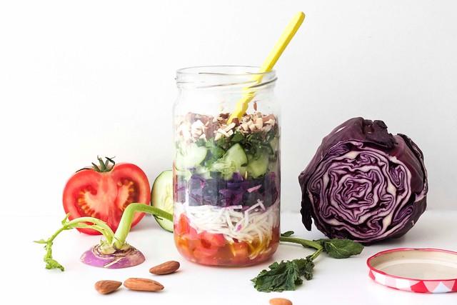 salada em frasco