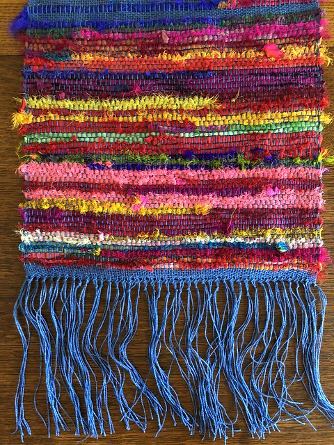 Woven table runner from Darn Good Yarn kit. Woven by Knitter Marseille and written about on EvinOK.com
