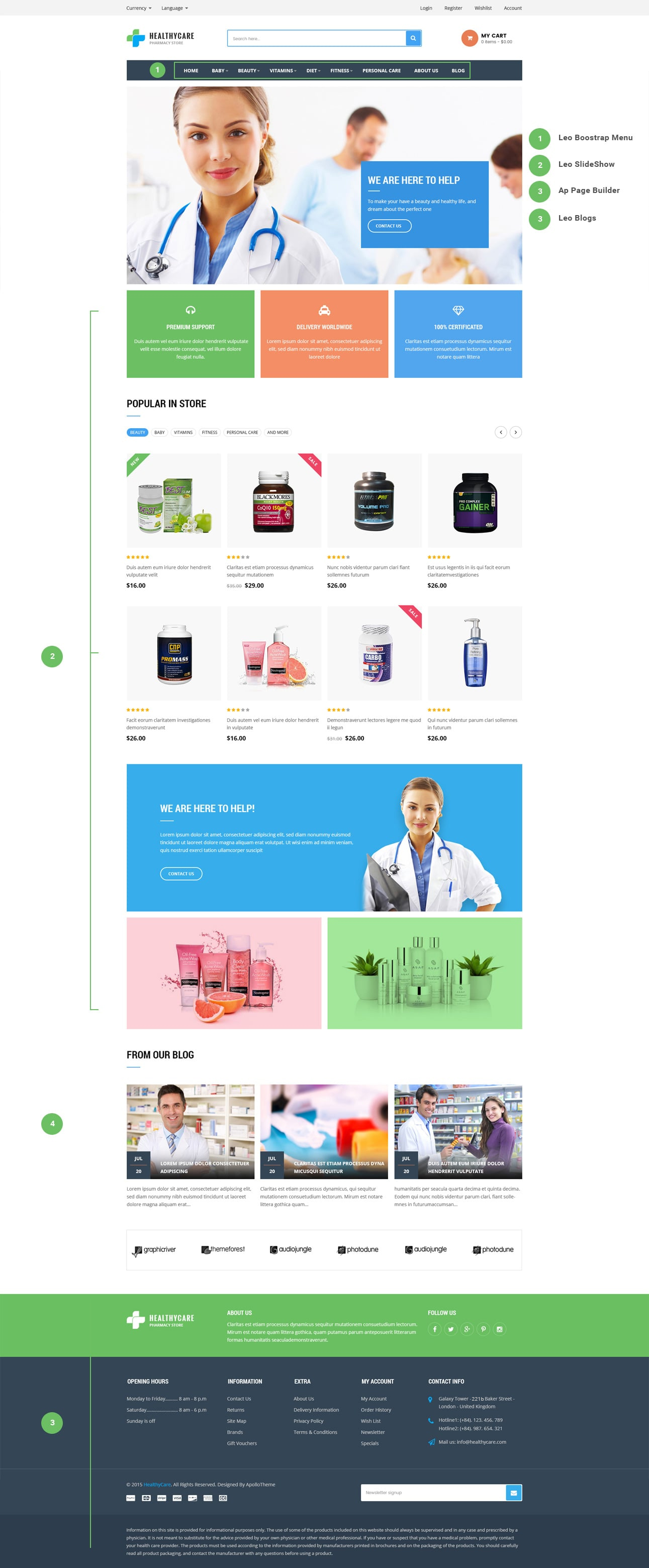 leo healthy care prestashop theme