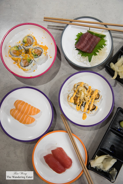 Some of our sushi items from the conveyer belt