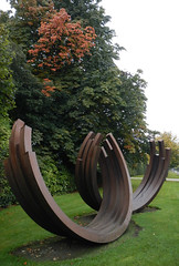 Metal sculptures in the garden at the Irish Museum of Modern Art in Dublin, Ireland