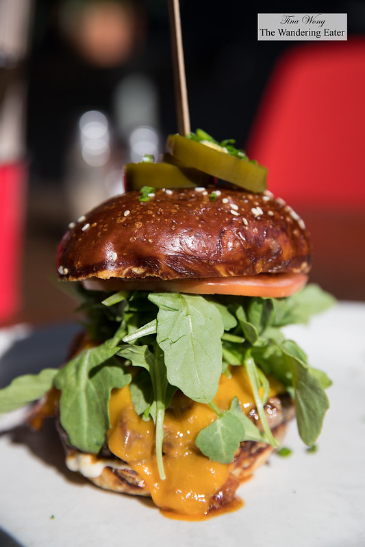 Cheeseburger with house made pretzel bun