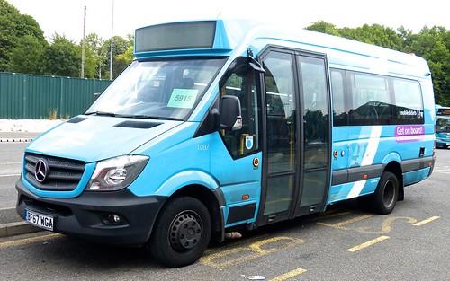 BF67 WGA 'ARRIVA Midlands' No. 1007 'Get on Board'. Mercedes-Benz City Sprinter 45 /1 on Dennis Basford's railsroadsrunways.blogspot.co.uk'