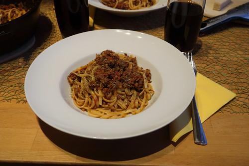 Spaghetti im Hackfleischsoße