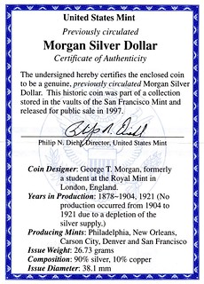 San Francisco Morgan Dollar CertOfAuthenticity