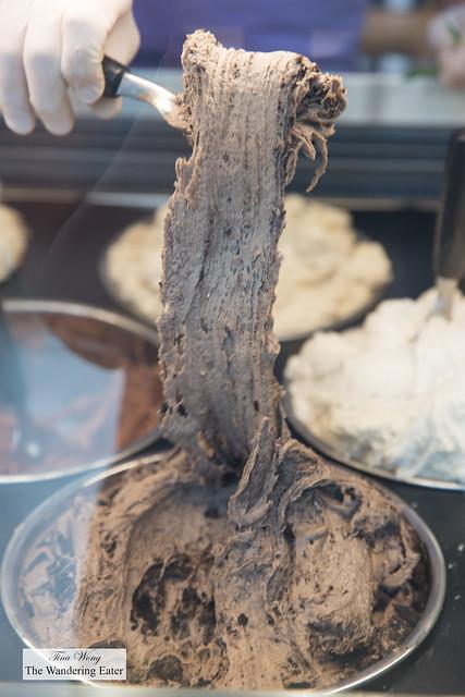 Stretchy chocolate booza ice cream