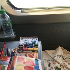 Painting on the train, reims, watercolor - Photo of Sainte-Gemme