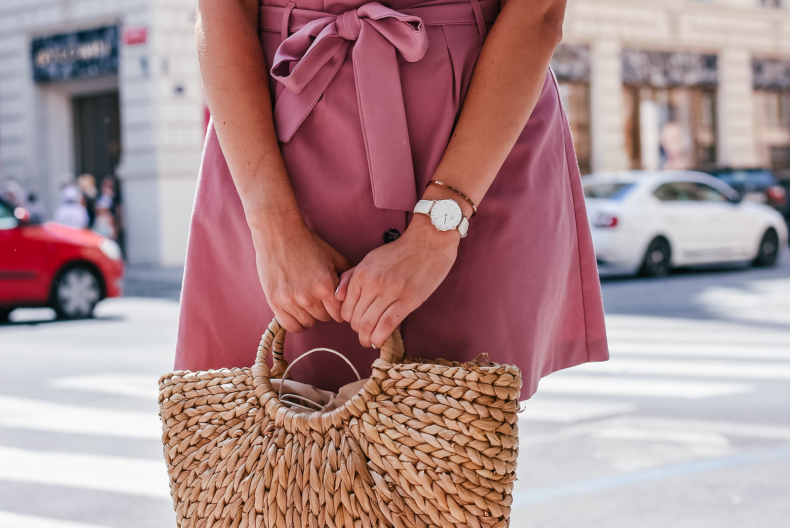 eBay straw bag outfit