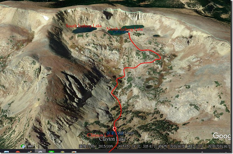 Hiking route from Clayton to Iceberg Lake