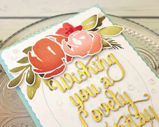 LizzieJones_PapertreyInk_August2018_SayItSimply_ScallopStackers_WatercolorFloralLovelyBirthdayCard3