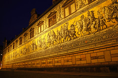 Dresden by night. Fürstenzug, Procession of Princes