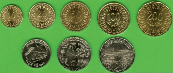 Tunisko 10-20-50-100-200 Millimes + ½-1-2 Dinars 2013