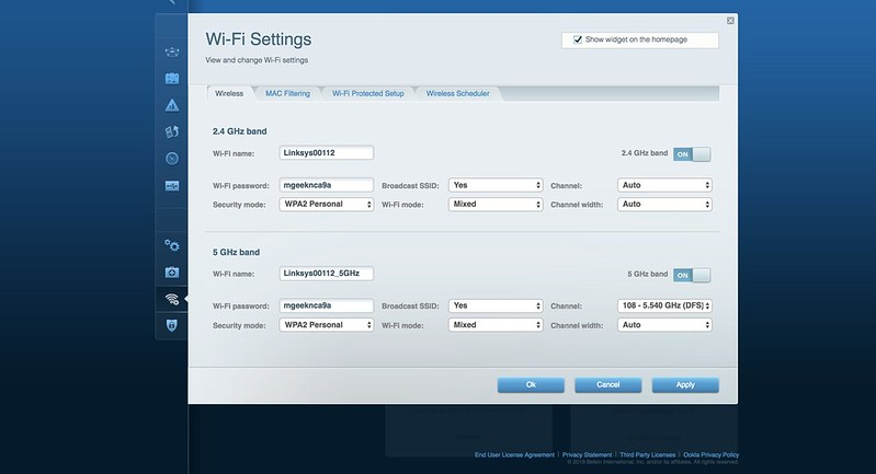 Linksys EA8100 - Wi-Fi Settings