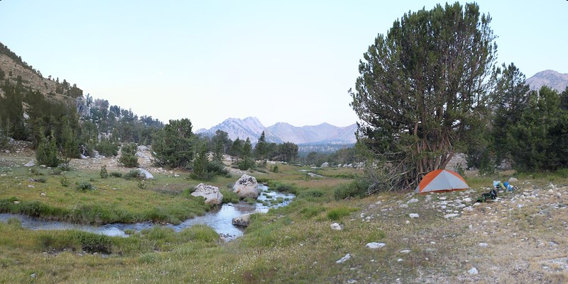 My campsite east of Bullfrog Lake at dawn - I was feeling better and ready to crank out some serious miles