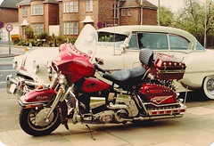 Edgeware ,North London, 1954 pontiac star chief and my 1981 electra glide.