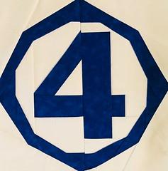 Fantastic 4 block fo Action Jaxon's super hero raffle quilt
