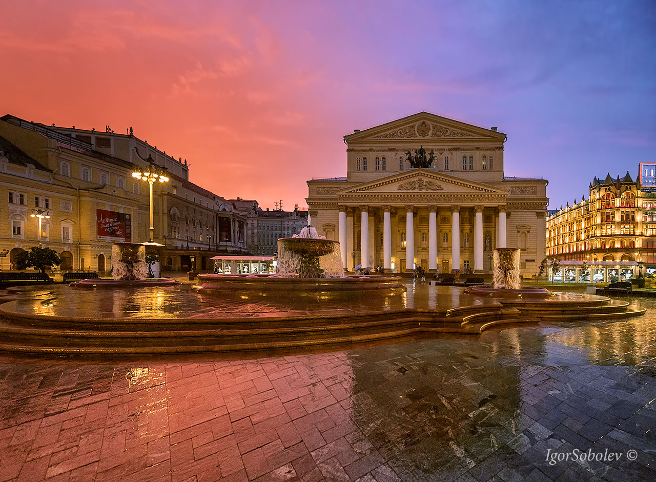 Sunset at the Bolshoi Theater in Moscow